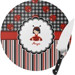 Ladybugs & Stripes Round Glass Cutting Board (Personalized)