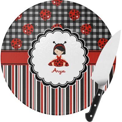 Ladybugs & Stripes Round Glass Cutting Board (Personalized)