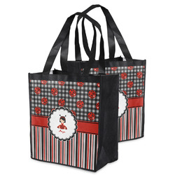 Ladybugs & Stripes Grocery Bag (Personalized)