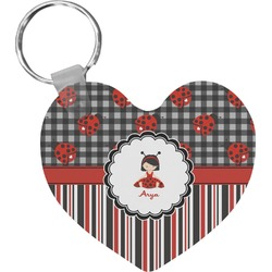 Ladybugs & Stripes Heart Plastic Keychain w/ Name or Text