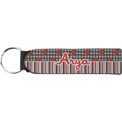 Ladybugs & Stripes Neoprene Keychain Fob (Personalized)