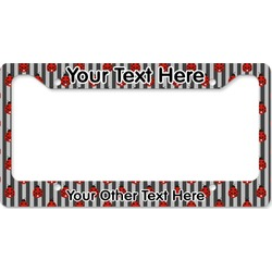 Ladybugs & Stripes License Plate Frame - Style B (Personalized)