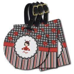 Ladybugs & Stripes Plastic Luggage Tags (Personalized)