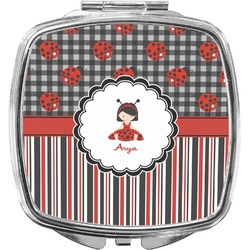 Ladybugs & Stripes Compact Makeup Mirror (Personalized)