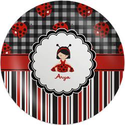 """Ladybugs & Stripes Melamine Plate - 8"""" (Personalized)"""