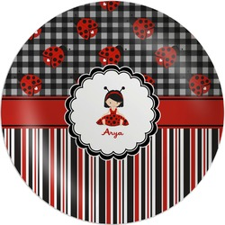 Ladybugs & Stripes Melamine Plate (Personalized)