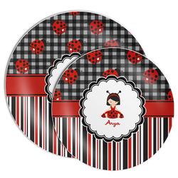 Ladybugs & Stripes Melamine Plate (Personalized)