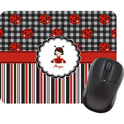 Ladybugs & Stripes Mouse Pad (Personalized)