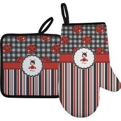 Ladybugs & Stripes Oven Mitt & Pot Holder (Personalized)