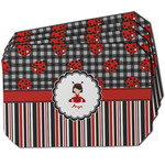 Ladybugs & Stripes Dining Table Mat - Octagon w/ Name or Text