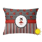 Ladybugs & Stripes Outdoor Throw Pillow (Rectangular) (Personalized)