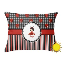 Ladybugs & Stripes Outdoor Throw Pillow (Rectangular) (Personalized)