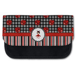 Ladybugs & Stripes Canvas Pencil Case w/ Name or Text