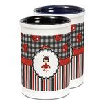 Ladybugs & Stripes Ceramic Pencil Holder - Large