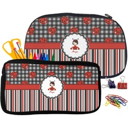 Ladybugs & Stripes Pencil / School Supplies Bag (Personalized)