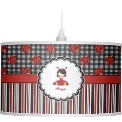 Ladybugs & Stripes Drum Pendant Lamp Linen (Personalized)