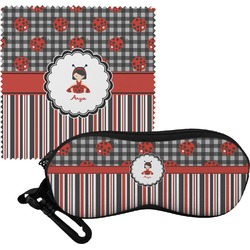 Ladybugs & Stripes Eyeglass Case & Cloth (Personalized)
