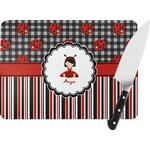 Ladybugs & Stripes Rectangular Glass Cutting Board (Personalized)