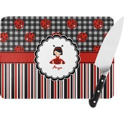 Ladybugs & Stripes Rectangular Glass Cutting Board (Personalized)