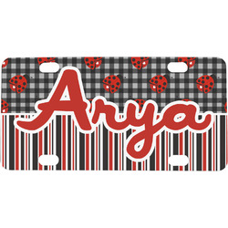 Ladybugs & Stripes Mini License Plate (Personalized)