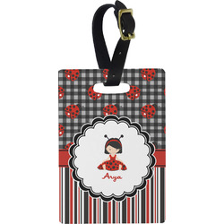 Ladybugs & Stripes Plastic Luggage Tag - Rectangular w/ Name or Text