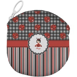 Ladybugs & Stripes Round Coin Purse (Personalized)