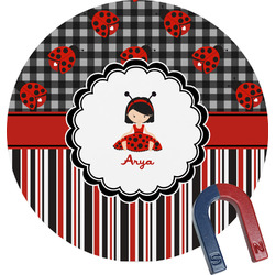 Ladybugs & Stripes Round Fridge Magnet (Personalized)
