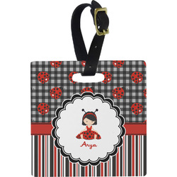 Ladybugs & Stripes Square Luggage Tag (Personalized)