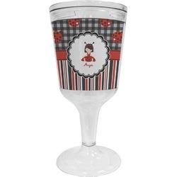 Ladybugs & Stripes Wine Tumbler - 11 oz Plastic (Personalized)