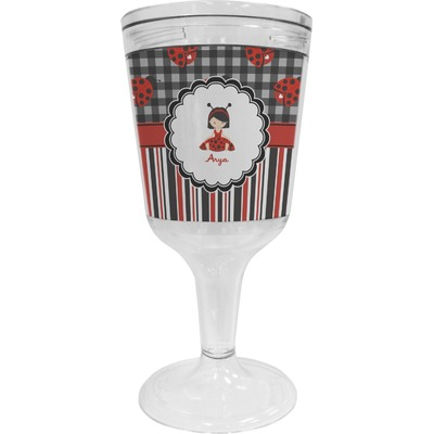 Ladybugs & Stripes Wine Tumbler - 11 oz Plastic (Personalized)