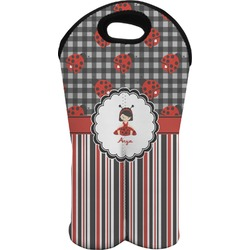 Ladybugs & Stripes Wine Tote Bag (2 Bottles) (Personalized)