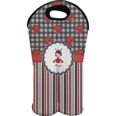 Ladybugs & Stripes Wine Tote Bag (2 Bottles) (Personalized)