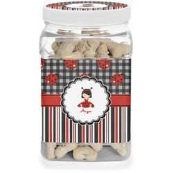 Ladybugs & Stripes Pet Treat Jar (Personalized)