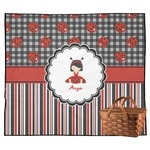 Ladybugs & Stripes Outdoor Picnic Blanket (Personalized)
