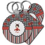 Ladybugs & Stripes Keychains - FRP (Personalized)