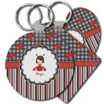Ladybugs & Stripes Plastic Keychains (Personalized)