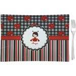 Ladybugs & Stripes Glass Rectangular Appetizer / Dessert Plate - Single or Set (Personalized)
