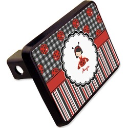 """Ladybugs & Stripes Rectangular Trailer Hitch Cover - 2"""" (Personalized)"""