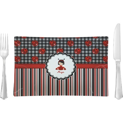 Ladybugs & Stripes Rectangular Glass Lunch / Dinner Plate - Single or Set (Personalized)