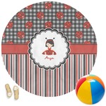Ladybugs & Stripes Round Beach Towel (Personalized)