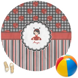 Ladybugs & Stripes Round Beach Towel (Personalized)