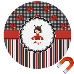 "Ladybugs & Stripes Round Car Magnet - 6"" (Personalized)"