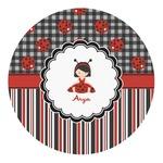 Ladybugs & Stripes Round Decal (Personalized)