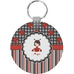 Ladybugs & Stripes Round Keychain (Personalized)