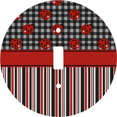 Ladybugs & Stripes Round Light Switch Cover (Personalized)