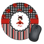 Ladybugs & Stripes Round Mouse Pad (Personalized)