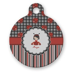 Ladybugs & Stripes Round Pet Tag (Personalized)