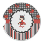 Ladybugs & Stripes Sandstone Car Coasters (Personalized)