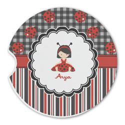 Ladybugs & Stripes Sandstone Car Coasters (Personalized)