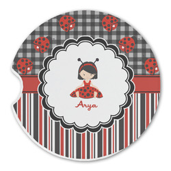 Ladybugs & Stripes Sandstone Car Coaster - Single (Personalized)
